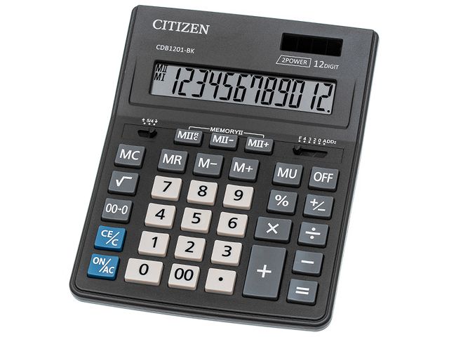 """Калькулятор настольный CITIZEN """"Business Line CDB1201-BK"""" 12 разрядный, двойное питание"""
