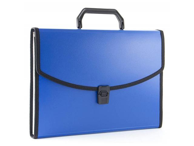 Портфель пластиковый А4 13 отд. Бюрократ с окантовкой, синий