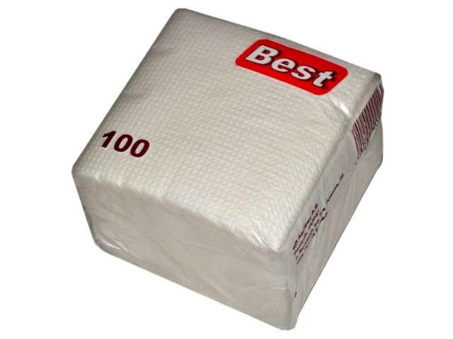 Салфетки бумажные BEST, однотонные белые, 100шт в упак.