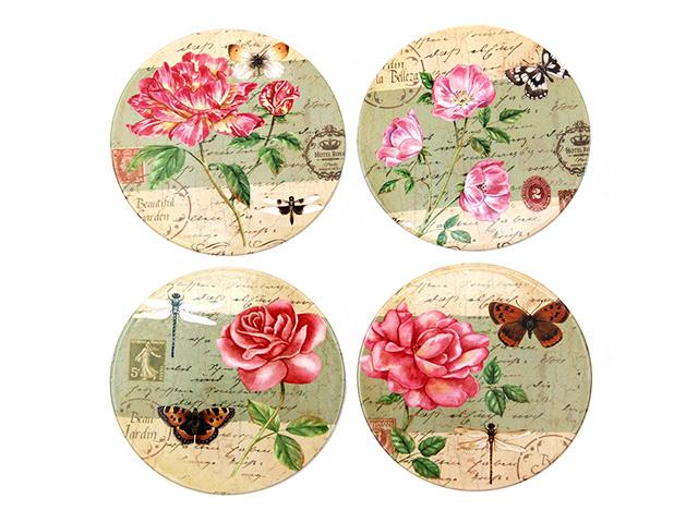 """Подставка под горячее """"Цветы и бабочки"""" d-15см., керамика"""