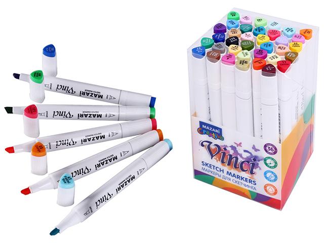 """Набор маркеров для скетчинга Mazari """"VINCI"""", 1-7 мм, двусторонние, 36 цветов (основные цвета)"""