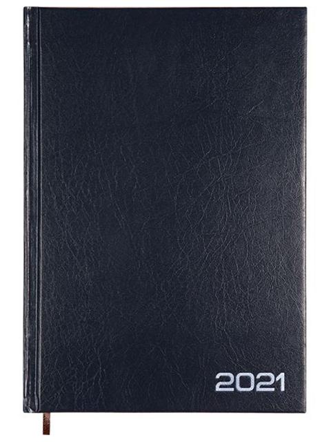 Ежедневник датированный 2021, А5, Attomex 176 листов обл. бумвинил, синий