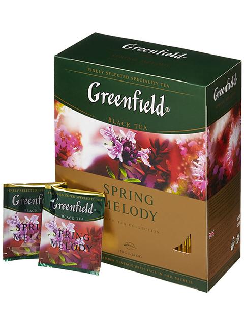Чай Greenfield черный с чабрецом в пакетиках с ярлыками 2 г 100 штук Spring Melody