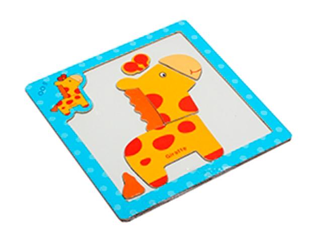 """Пазл- рамка деревянная для малышей, магнитная """"Жираф"""" 6 элементов. 15х15 см"""