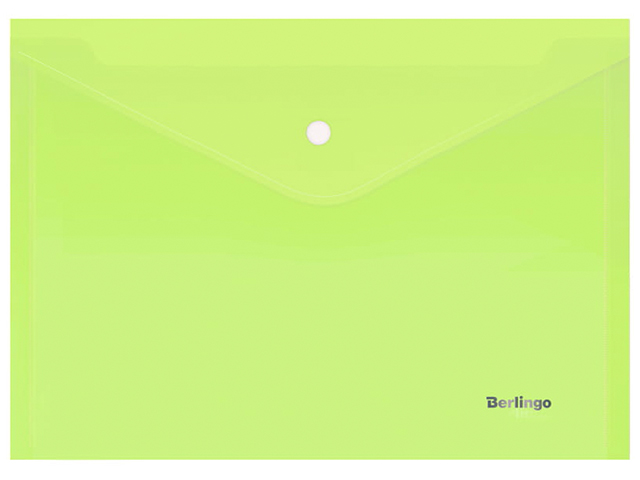 """Папка-конверт на кнопке А4 Berlingo """"Starlight"""" 180мкм, прозрачная салатовая"""
