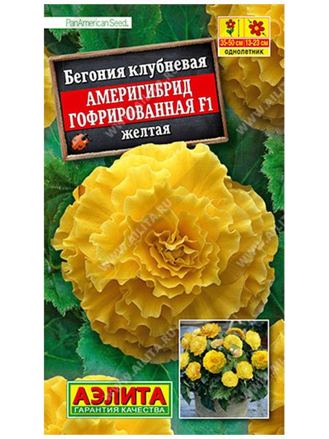 Бегония Америгибрид Гофрированная F1, желтая клубневая  ц/п, 5 штук