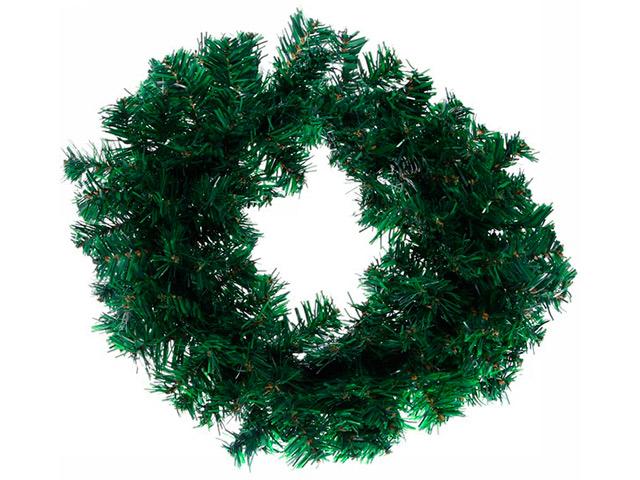 """Новогоднее украшение """"Венок хвойный"""" d-40см, зеленый, ПВХ (без декора)"""