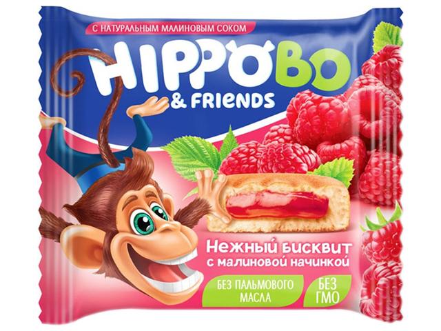 """Пирожное бисквитное """"HIPPOBO"""" с малиновой начинкой, 32г"""