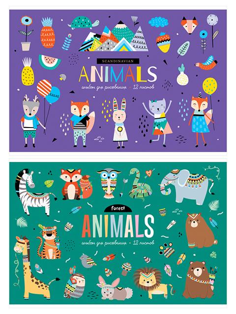 """Альбом для рисования А4 12 листов ArtSpace """"Животные.Забавные"""", на скрепке"""