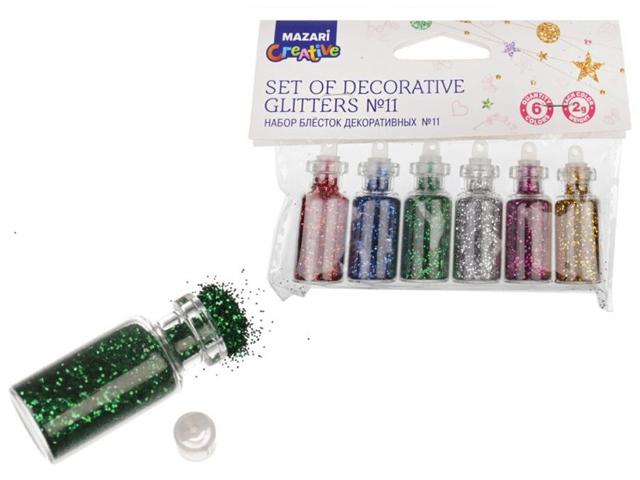 Набор блесток декоративных Mazari №11, 6 цветов по 2 гр., в тубе, европодвес