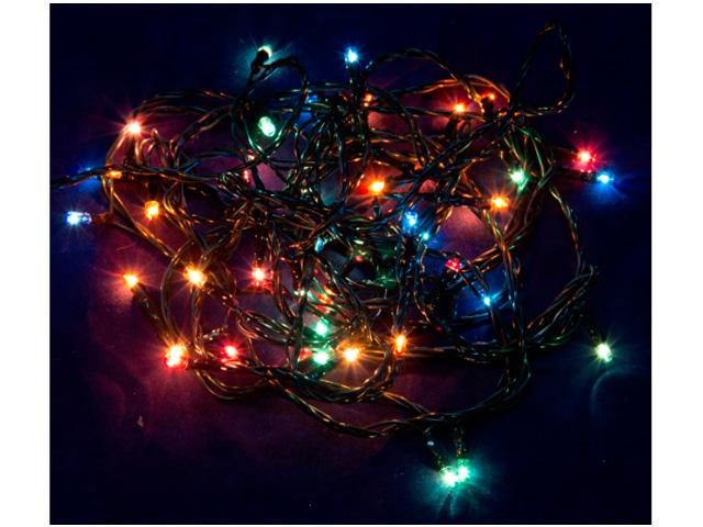 """Гирлянда электрическая 50 ламп """"Вьюн"""" 5 м, мультицвет, 8 режимов, зеленый провод, 220В"""