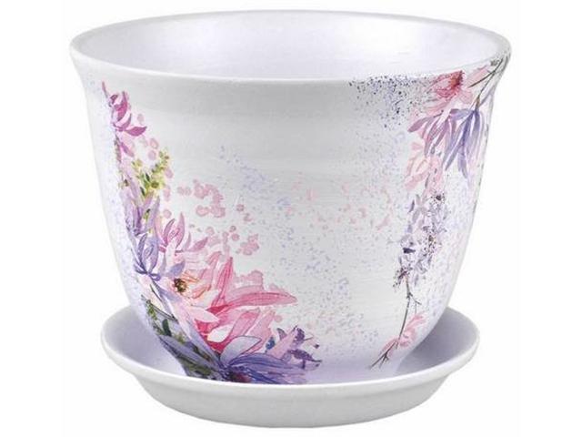 """Горшок для цветов """"Гранд Декупаж (432)"""" 22см, с поддоном, керамика"""