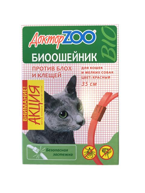 Доктор ZOO БИОошейник для кошек и мелких собак от блох и клещей 35см, красный