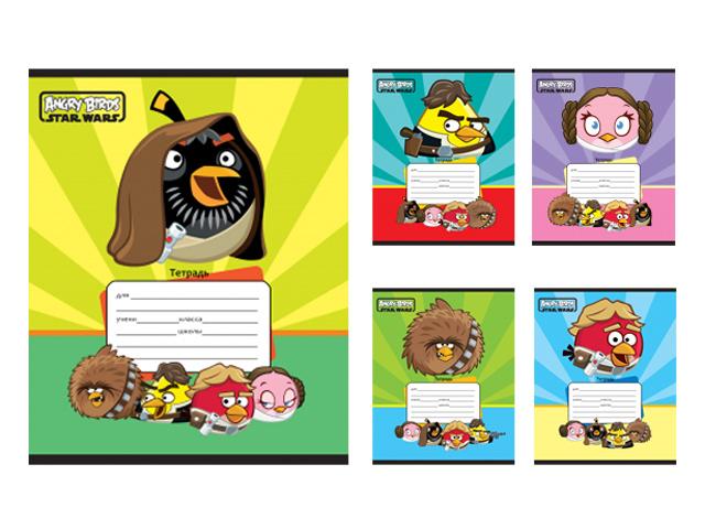 "Тетрадь А5 12 листов, клетка Проф-Пресс ""Angry Birds"" обложка картон"