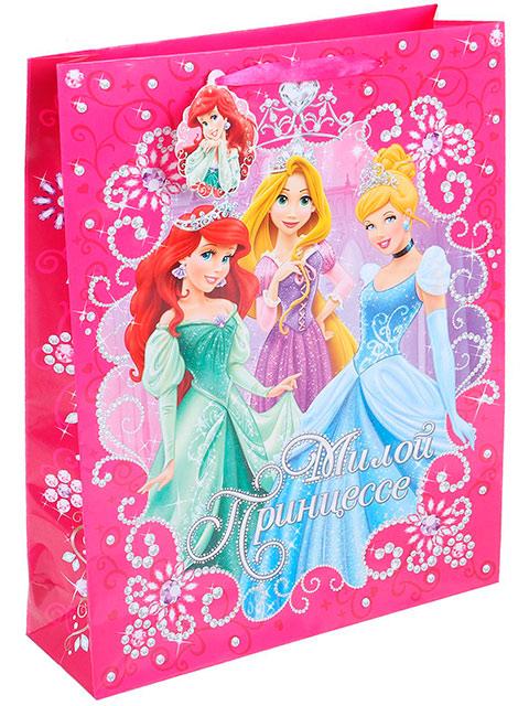 """Пакет подарочный бумажный 31х40х10 """"Милой принцессе (Принцессы Дисней)"""" ламинир"""