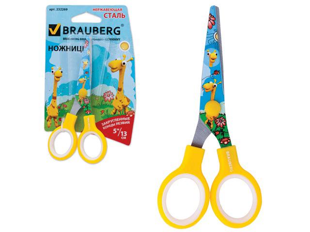 """Ножницы BRAUBERG """"Жирафы"""", 130 мм, с цветной печатью жирафов, жёлтые, в картонной упаковке с европодвесом, 232269"""