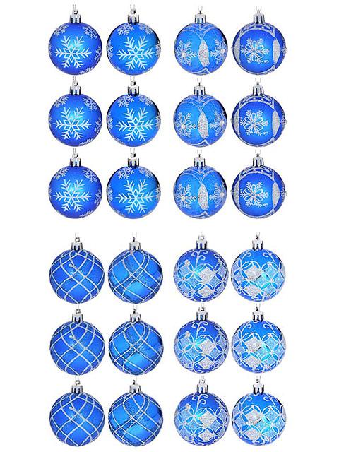 Набор елочных шаров СНОУ БУМ, 6 см, 6 шт, синий с декором, пластик, 4 дизайна
