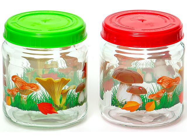 """Банка для сыпучих продуктов Твист """"Грибочки"""" 450мл., стекло"""