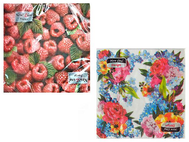 """Салфетки бумажные New Line Fresco """"Пионы, Тюльпаны, Лилия, Малина, Цветочный орнамент, Ирисы, Крокус"""" 33х33см, 2-слойные, в ассортименте, 20шт в упак."""