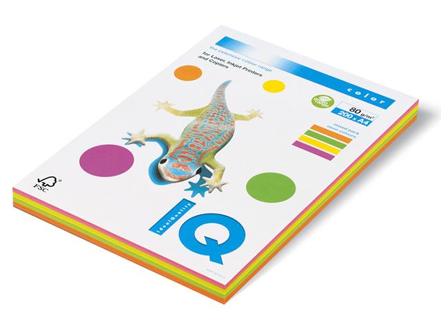 """Бумага IQ Color neon А4 80г/кв.м 200 листов """"МИКС"""" (неоновые 4 цвета)"""