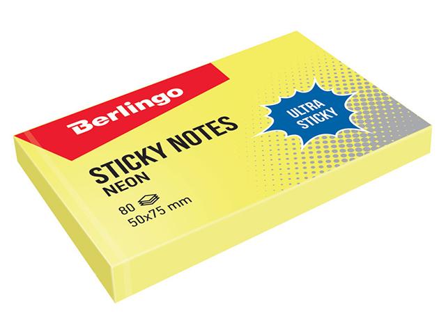 """Блок для записей с клеевым краем Berlingo """"Ultra Sticky"""", 50*75мм, 80л, желтый неон"""