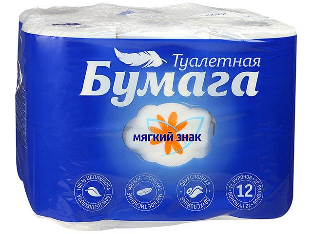 """Бумага туалетная """"Мягкий знак. Comfort/Буквы"""" белая 12 рулонов в упаковке 2-х слойная"""