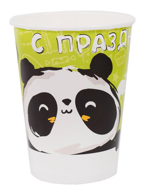 """Стакан бумажный Пати бум """"Панда. С праздником!"""" 200 мл, 6 шт. в упак."""
