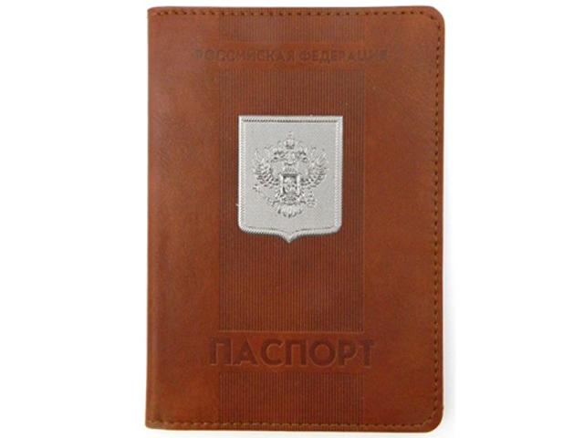 """Обложка для паспорта Intelligent """"Паспорт"""" коричневый, с металлическим гербом"""