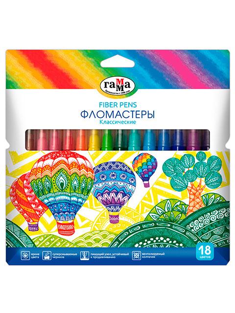 """Фломастеры Гамма """"Классические"""" 18 цветов, смываемые, в картонной упаковке с подвесом"""