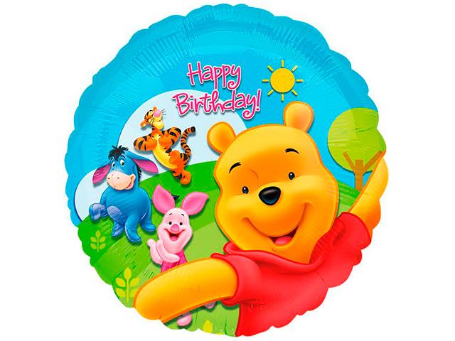 """Шар фольгированный """"Happy birthday!"""" круг (Винни Пух), цветной, без упаковки"""