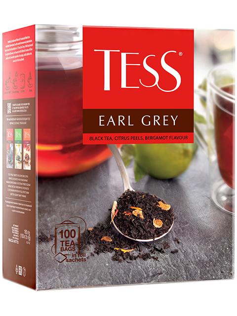 Чай TESS Earl Grey черный, с цедрой лимона, в пакетиках с ярлыками 1,5 г 100 штук