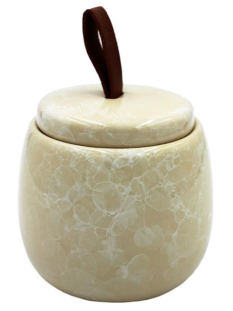 """Баночка для ватных дисков """"PIETRA"""" beige, 9,6х7,5см, керамика"""