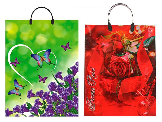 """Пакет """"петля"""" пластиковые ручки 31х40 """"Цветы, Бабочки, Джинс, Монетный карман, VINTAGE"""" в ас"""
