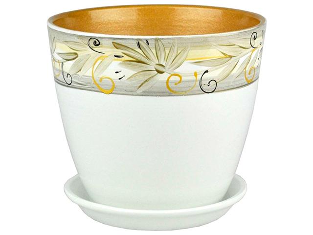 """Горшок для цветов """"Бутон"""" Регина 21см (с поддоном) , керамика"""