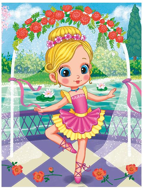 """Набор для детского творчества """"Холст с красками. Маленькая балерина и цветы"""" 17х22 см"""