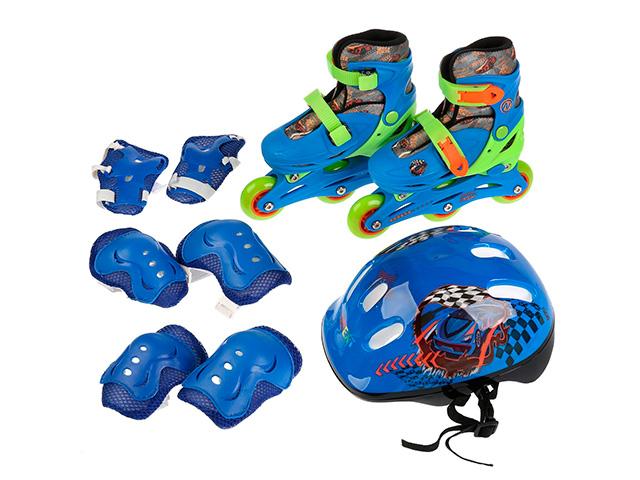 Роликовые коньки NEXT с защитой и шлемом, раздвижные, синие, р-р 31-34, в рюкзаке