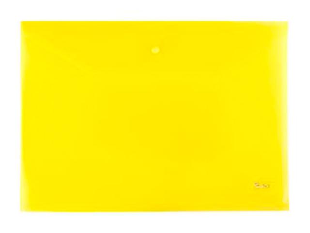 Папка-конверт на кнопке А4 Хатбер 180 мкм, желтая