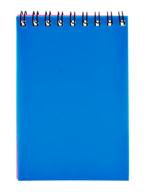 Блокнот А7 40 листов Sponsor синий, пластиковая обложка, на гребне