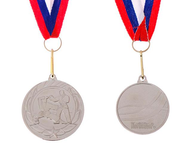 """Медаль тематическая """"Карате"""" 190 (4 см), металлическая, на ленте, серебро"""