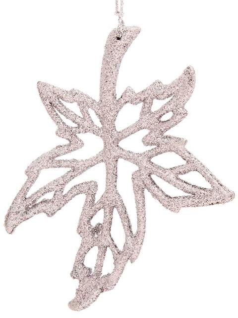 """Новогоднее украшение """"Кленовый лист"""" 12х10 см, пластик"""