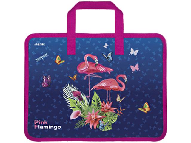 """Папка для тетрадей А4 deVENTE """"Pink Flamingo"""" 33х26х10 см, 1 отделение, на молнии, с ручками"""