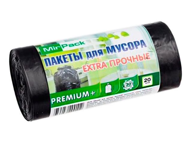 "Мешок для мусора 30л. 20шт. ""MirPack. Premium+"" 50х60 см, 25 мкм, черный"