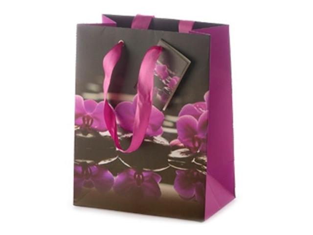 """Пакет подарочный бумажный 11,1х13,7х6,2 """"Орхидеи"""" матовая ламинация"""