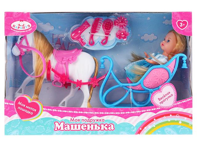 """Кукла Карапуз """"Машенька"""" 12 см, в санях с лошадью, аксессуары, в картонной упаковке"""