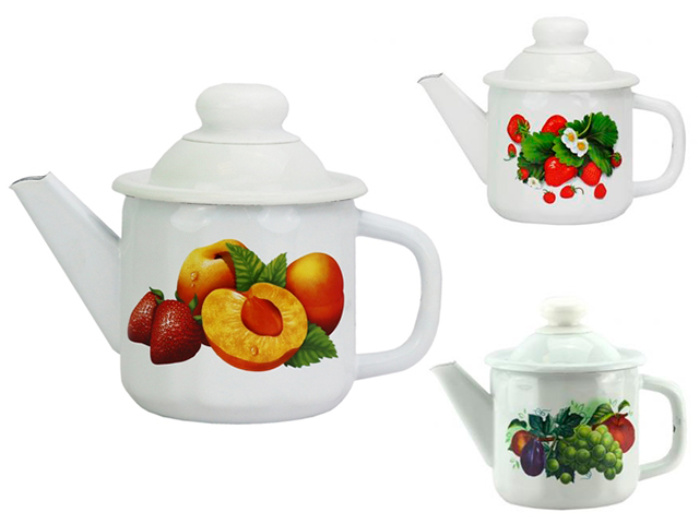 Чайник 1л с рисунком эмалированный