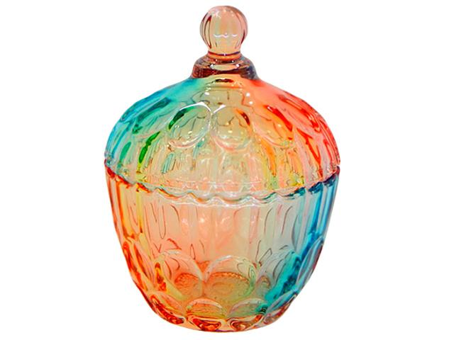 """Сахарница с крышкой """"Радуга"""" 10х12см, в подарочной упаковке, стекло"""