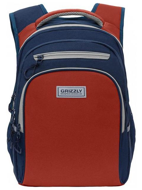 Рюкзак школьный GRIZZLY 26х38х20 см, полиэстер, 2 синий терракотовый