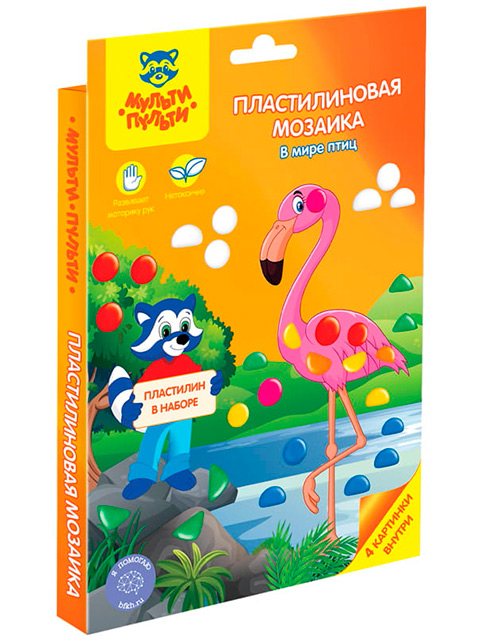 """Пластилиновая мозаика МультиПульти """"В мире птиц"""""""
