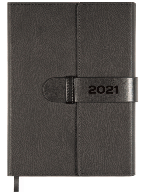 """Ежедневник датированный 2021, A5, deVENTE """"Tudor"""" 352 стр., иск. кожа, срез кремовый, 145х205 мм, черный"""