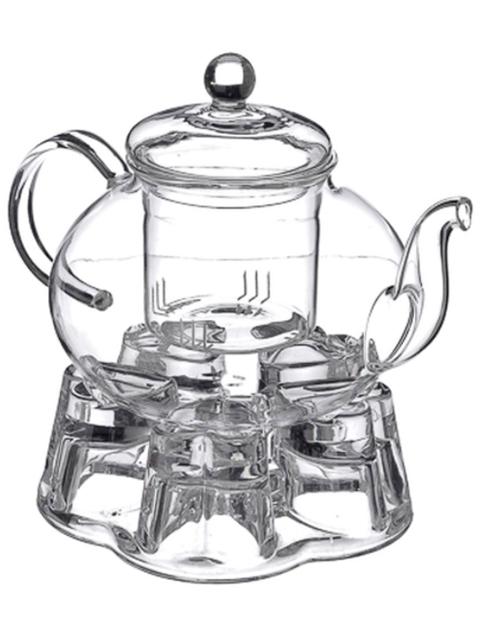 Чайник заварочный 800 мл с подставкой для свечи, жаропр., стекло